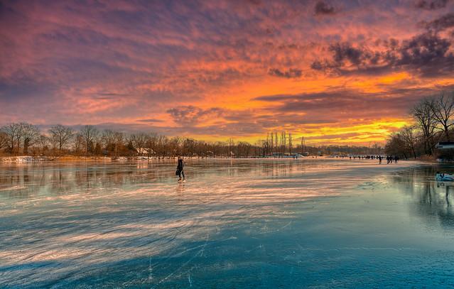Ice skating at De Rooije Plas, Handel, The Netherlands.