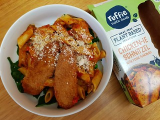 Ruffie's Vegan Schnitzel and Pasta