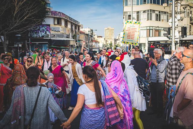 The Jewish state. Krishna flash mob, Tel Aviv.