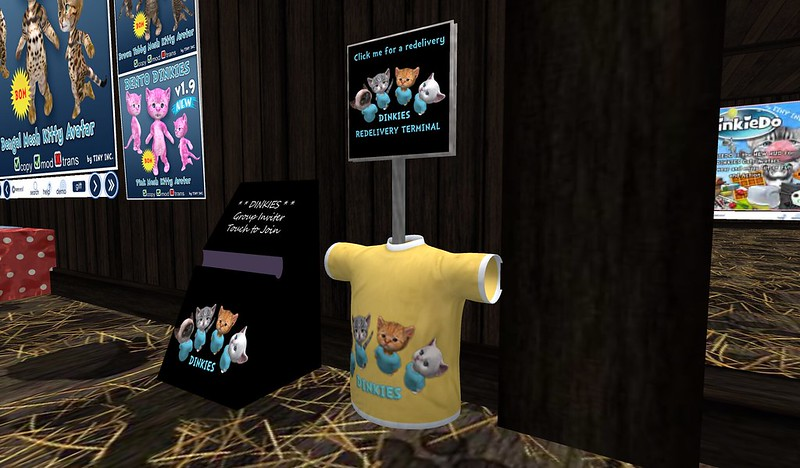 """Tiny Inc. redelivery terminal is the sign protruding out of the yellow shirt, as you can see in this snapshot. <a href=""""http://maps.secondlife.com/secondlife/Raglan Shire/31/57/61"""" rel=""""noreferrer nofollow"""">SLurl</a>"""