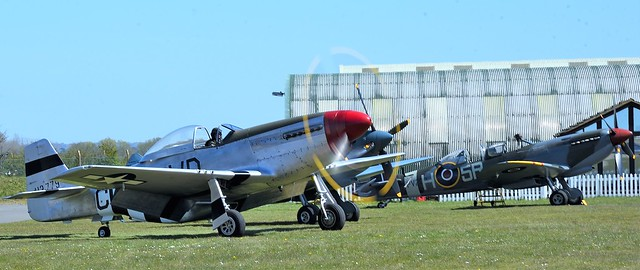 North American P51D Mustang G-SHWN 413779 & RAF Supermarine Spitfire two-seater T.9 trainer version MkIX PV202 G-CCCA 5R-H