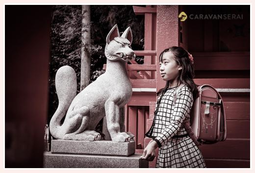 小学生の女の子と稲荷神社の狐