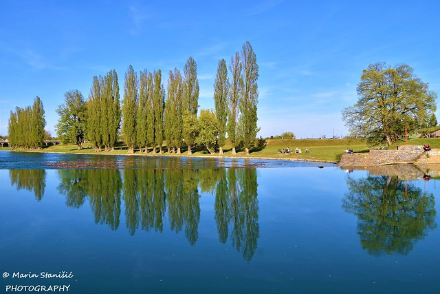 Springtime reflections on river Korana - Karlovac, Croatia