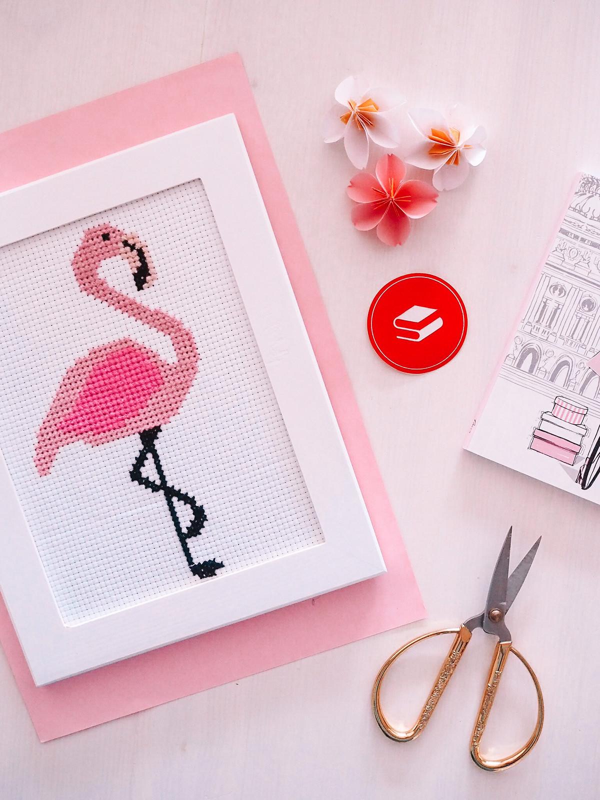 ristipistotyö-flamingo