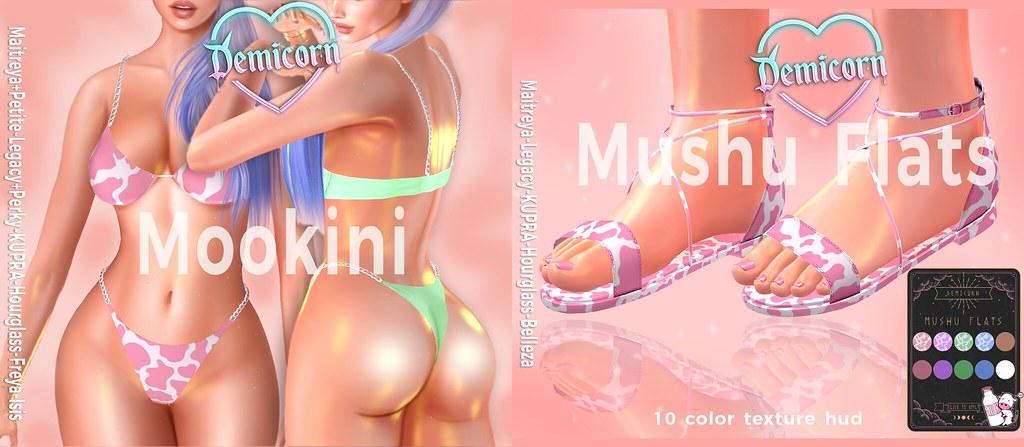 {Demicorn} Mookini and Mushu Flats SSS 50L PROMO 4/25