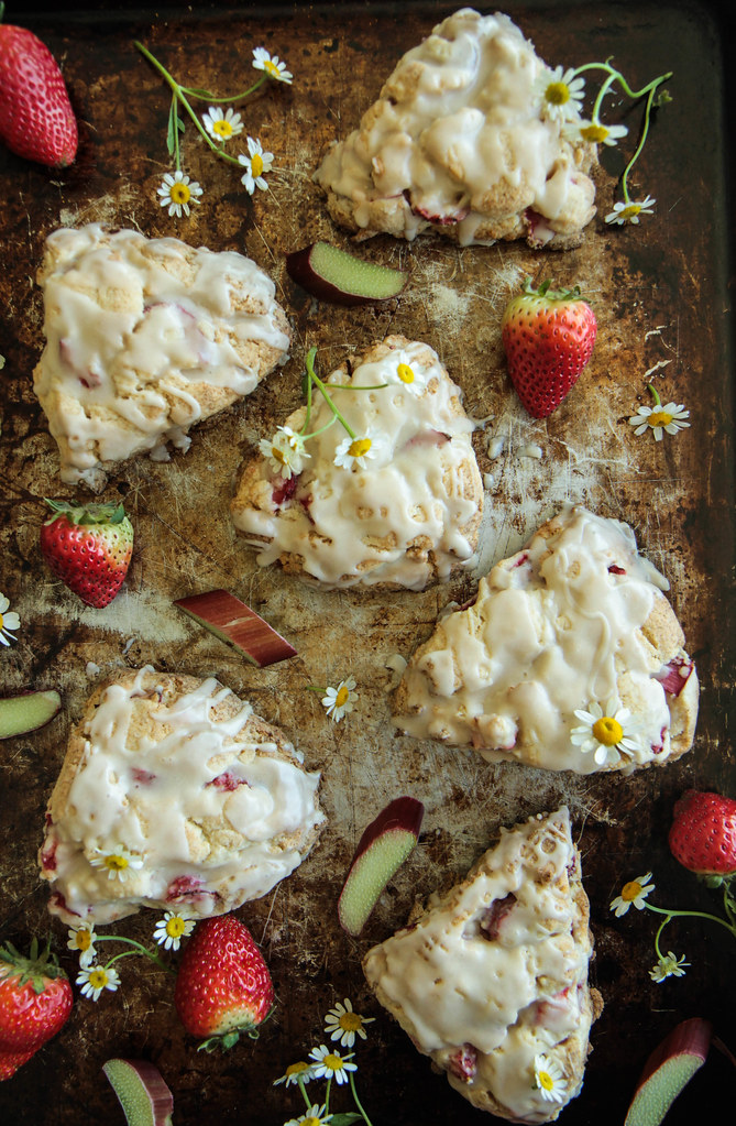 Strawberry Rhubarb Scones (Gluten-free and Vegan) from HeatherChristo.com