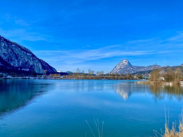 River Inn with Pendling seen from Kiefersfelden in Bavaria, Germany