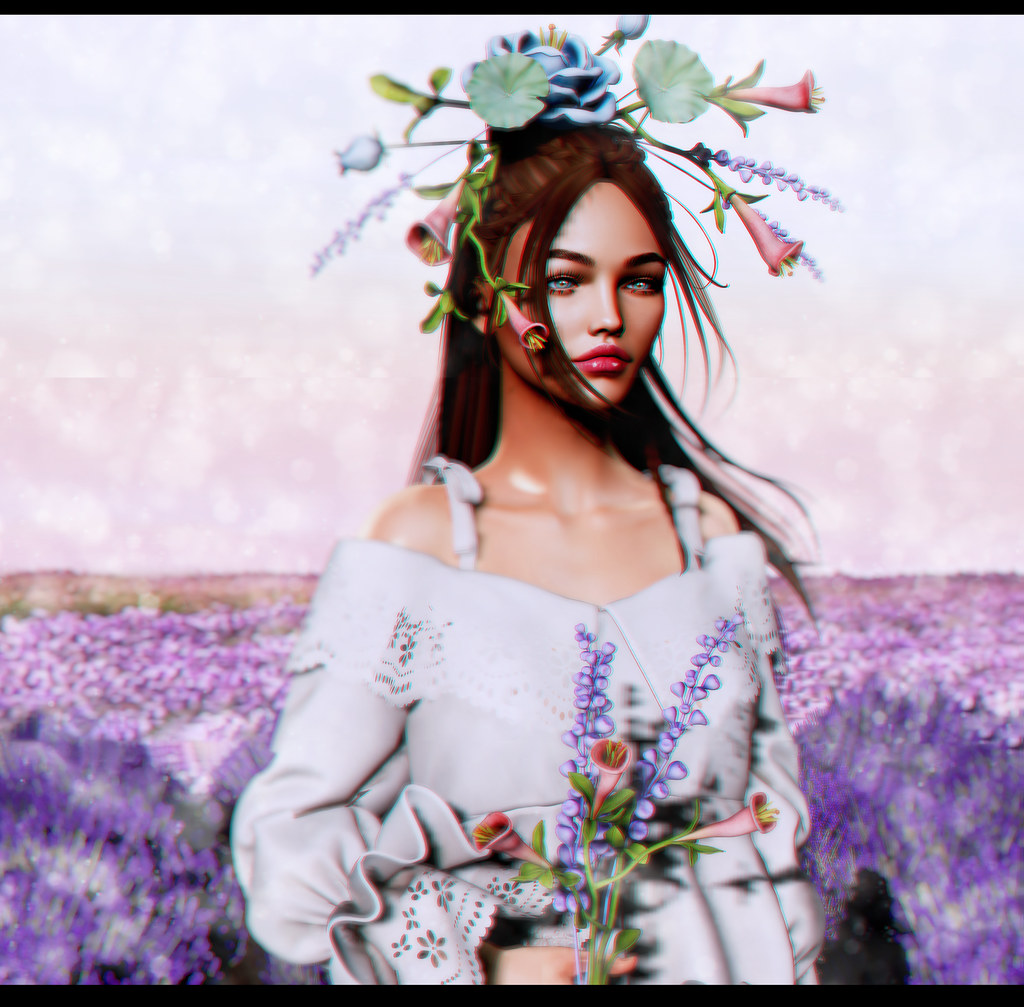 With flowers in her hair...