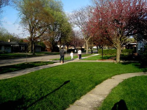 Caleb, Emily, Josie, Cora, & Ollie their dog going for a family walk