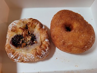 Doughnut and Cherry Danish from Farine