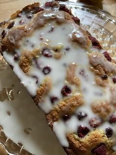 Raspberry lime almond cake
