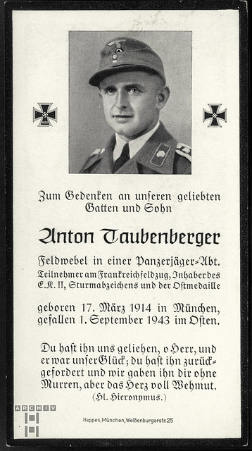 ArchivTappen233A555 Sterbebild (front), Anton Taubenberger, WWII 1943