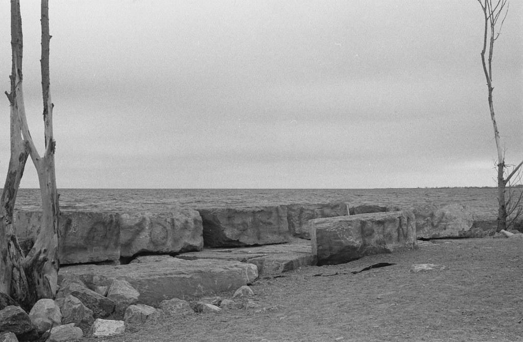 Gloomy Lake Ontario at Leuty Beach