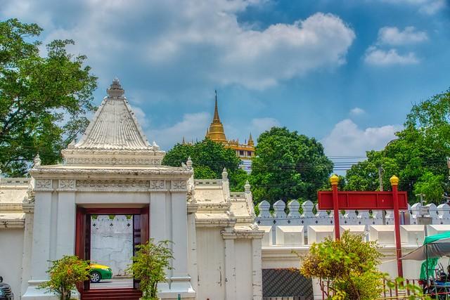 Wat Saket seen from Wat Ratchanatdaram Worawihan on Rattanakosin island (Old Town) in Bangkok, Thailand