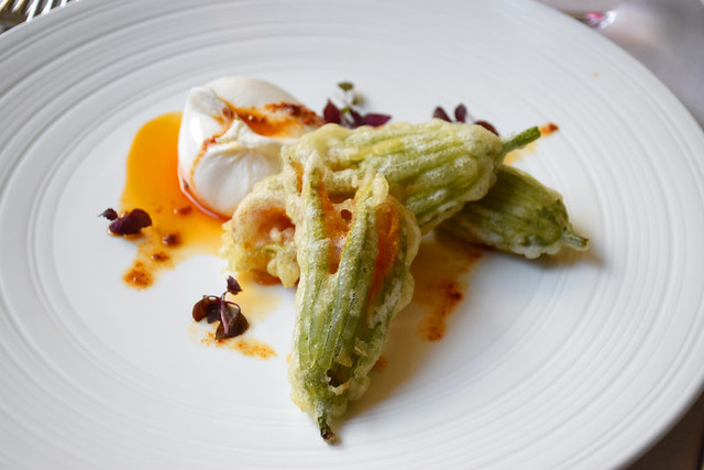 Burrata and courgette flower, Verona, Italy