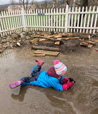 laying in a puddle