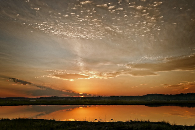 Peaceful Sunset Over Salt Marsh