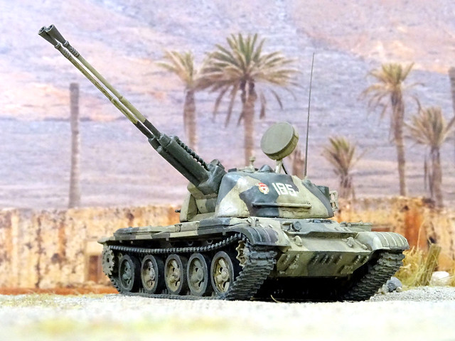 """1:72 ZSU-62 """"Kama"""" (Object 503); vehicle """"185"""" of the Soviet Army's 1008th Anti-Aircraft Artillery Regiment, 5th Guards Motor Rifle Zimovniki Division; Kushka (Balkh Province, northern Afghanistan), 1980 (What-if/kitbashing)"""