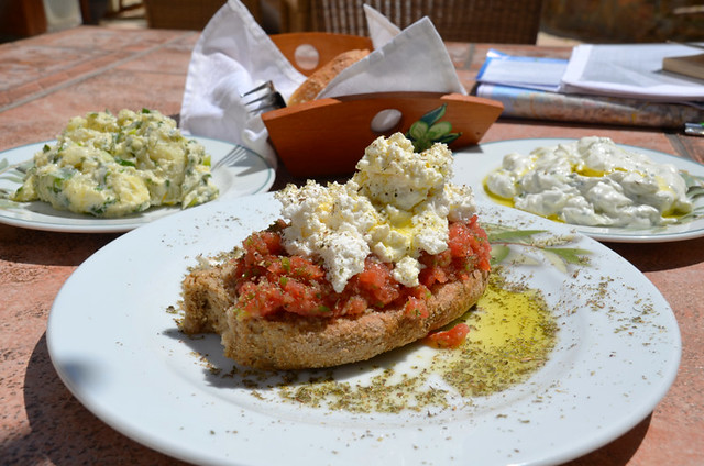 Dakos salad, tzatziki, potato salad, Crete, Greece