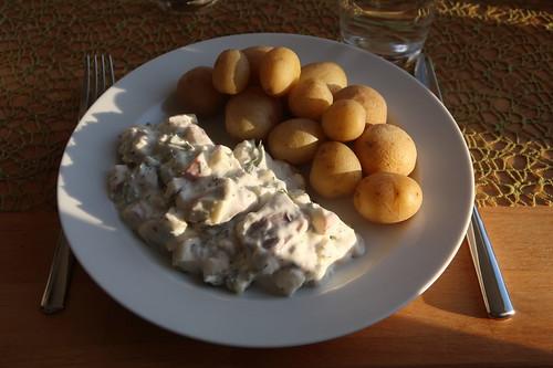 Pellkartoffeln zu Sahnehering mit Matjes und Äpfeln (mein Teller)