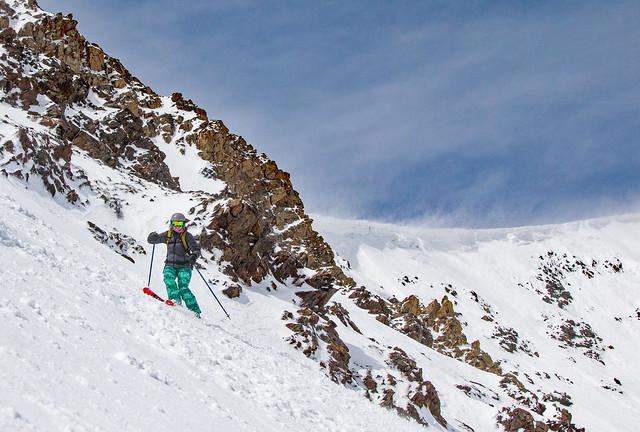 Skiing the Lake Chutes area at Breckenridge