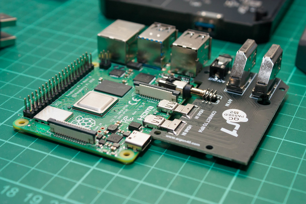 Connected circuit boards of raspberry pi and argon