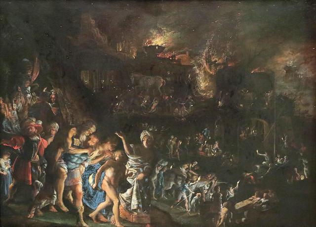 Adam Elsheimer (Francoforte sul Meno, 16 settembre 1578 – Roma, 11 dicembre 1610) - il sacco di Troia (1600 -1601) olio su rame - Alte Pinakothek Monaco di Baviera