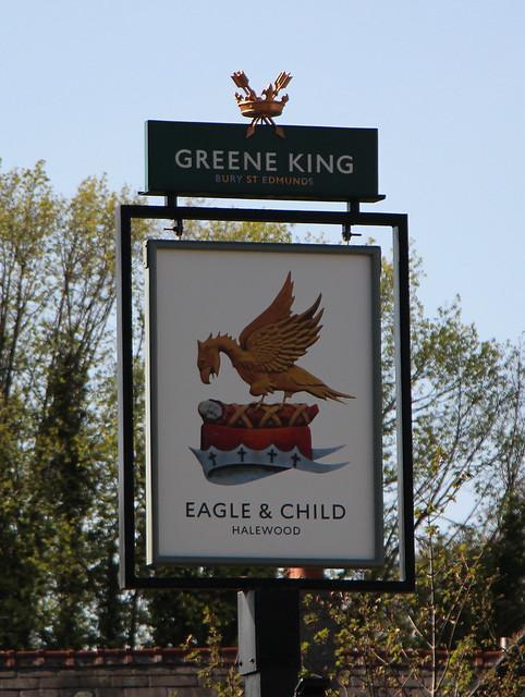 English Pub Sign - The Eagle & Child, Halewood, Liverpool