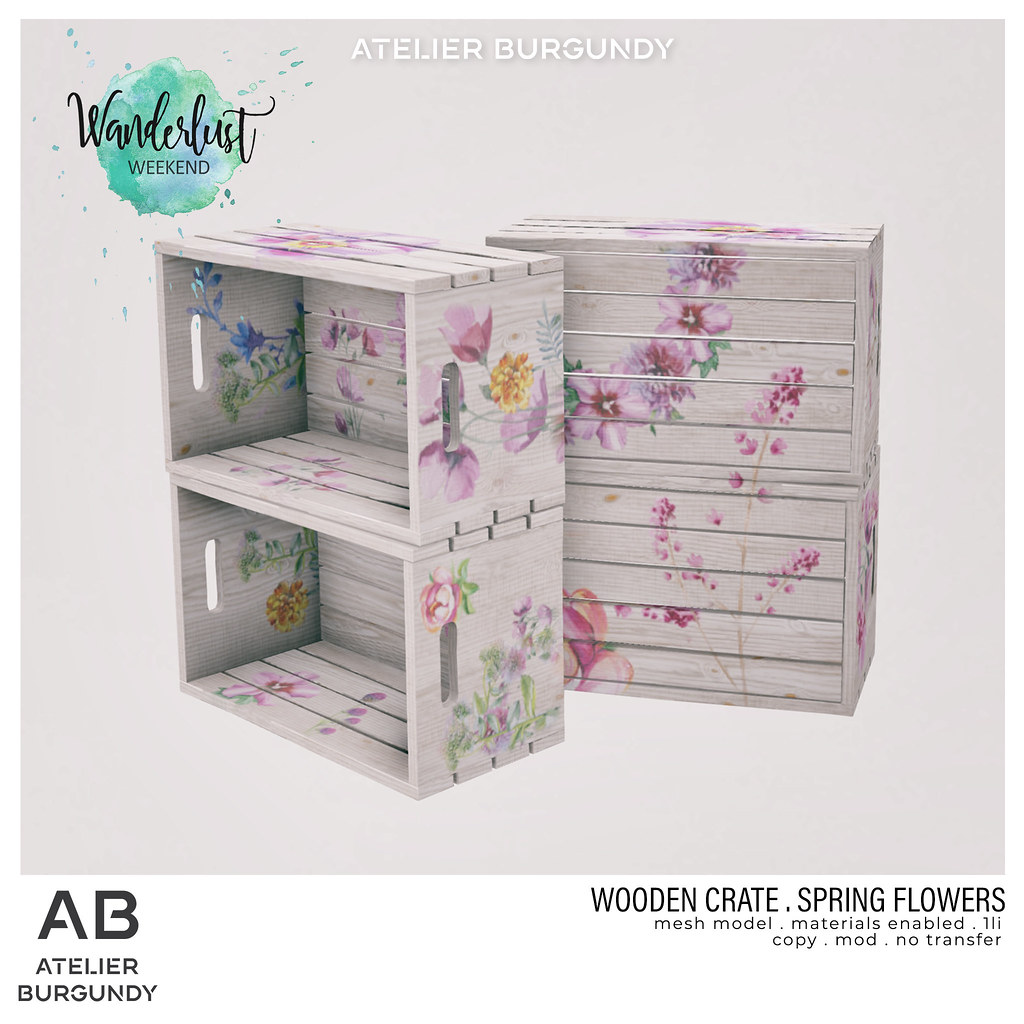 Atelier Burgundy . Wooden Crate Spring Flowers WL