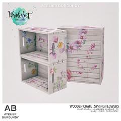 Atelier Burgundy . Wooden Crate Spring Flowers WL