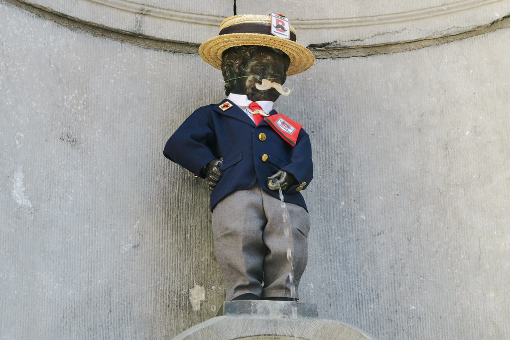 Manneken-Pis in the Order of the Brussels Moustache