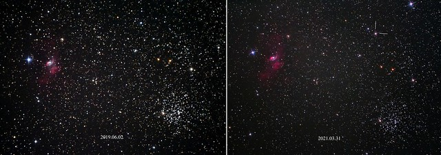 VCSE - A nóva (jobbra) és üres helye (balra) mintegy tíz hónap külünbséggel készült felvételeken - Fridrich János Mihály