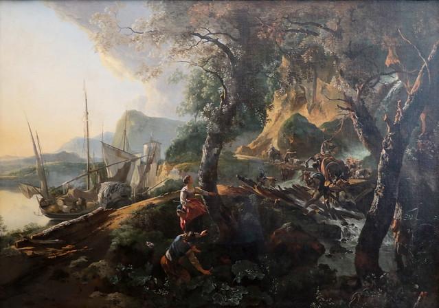 Adam Pynacker (Schiedam o Pynacker presso Delft, 23 gennaio 1620 circa – Amsterdam, 28 marzo 1673) - Paesaggio con ponte che crolla (1659) olio su tela 113 x 162 cm - Alte Pinakothek Monaco di Baviera