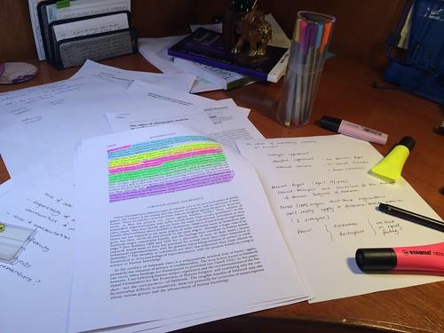 Highlighting, scribbling marginalia, reading, writing