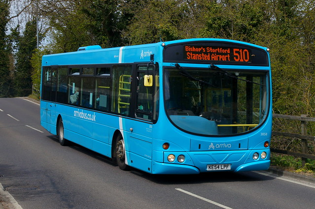 Homecoming: Arriva Harlow Volvo B7RLE/Wright Eclipse Urban KE54LPF (3858) Forest Hall Road Stansted Mountfitchet 26/04/21