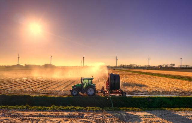 Tractor enjoying the sunset near Burgerbrug, The Netherlands.