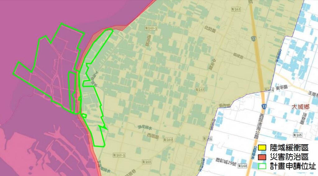 海精光電場預定地位於一級海岸防護區的災害防治區及陸域緩衝區。圖片來源:海岸利用書件資料