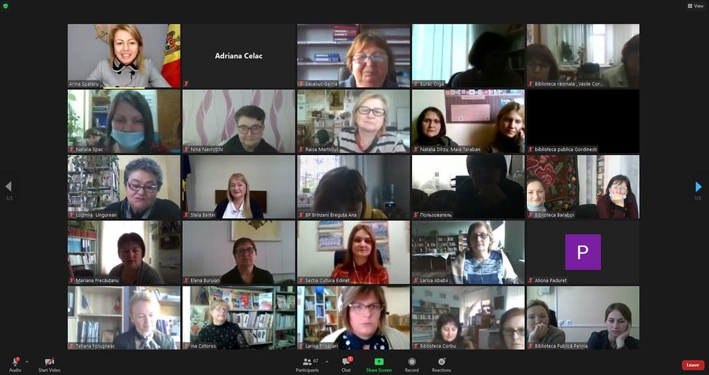 26.94.2021 Discuția online cu participarea deputaților, angajaților bibliotecilor publice din raioanele de nord ale țării, organizată de OTIP Edineț