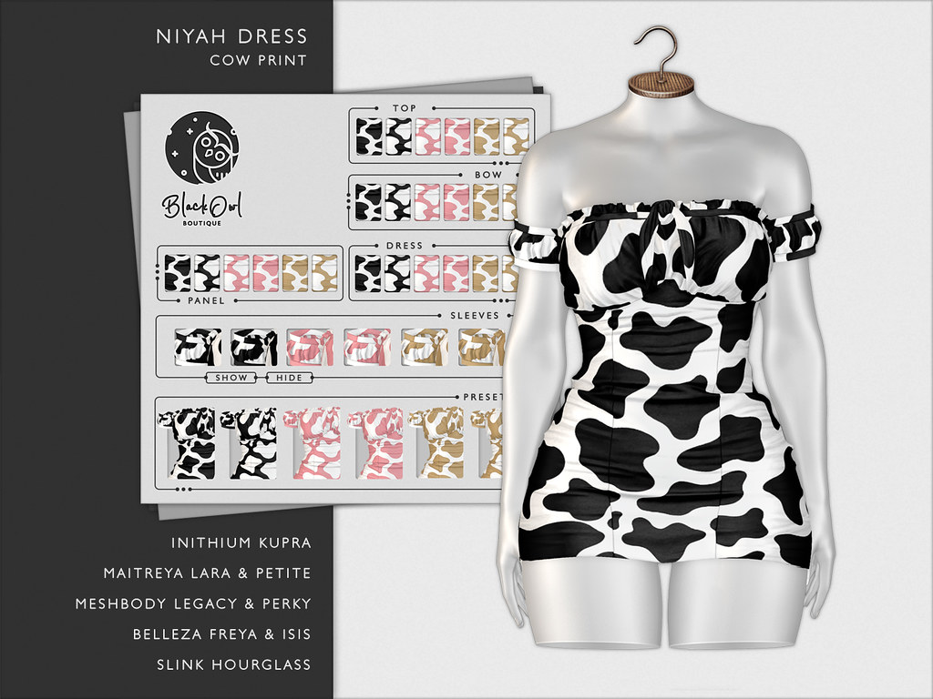 Black Owl – Nyah – Cow Print – AD