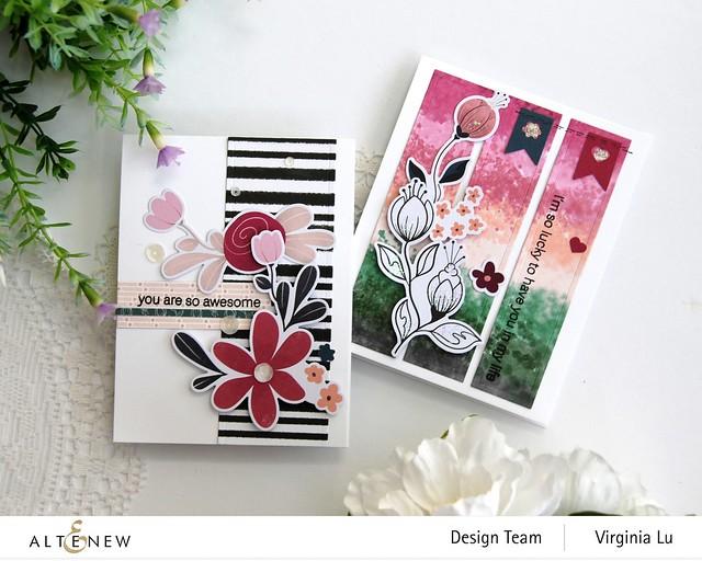 Altenew-Wildflower Collection 6x6 Paper Pack-Wildflower Collection Pink Posy Ephemera-Modern Greetings Stamp Set-Nesting Slim Rectangles Die-004