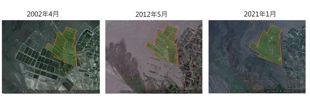 彰化縣環保聯盟總幹事施月英指出,從Google的衛星雲圖空拍圖可發現,開發基地所處的海岸容易遭到海浪侵蝕。彰化縣環保聯盟提供,孫文臨整理
