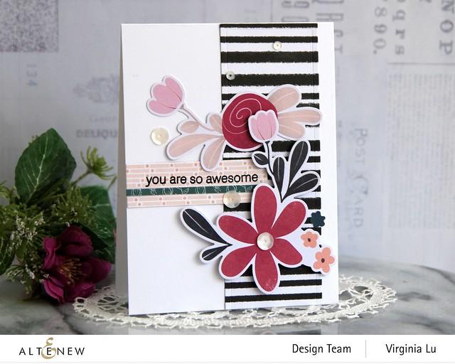 Altenew-Wildflower Collection 6x6 Paper Pack-Wildflower Collection Pink Posy Ephemera-Modern Greetings Stamp Set-Nesting Slim Rectangles Die-006