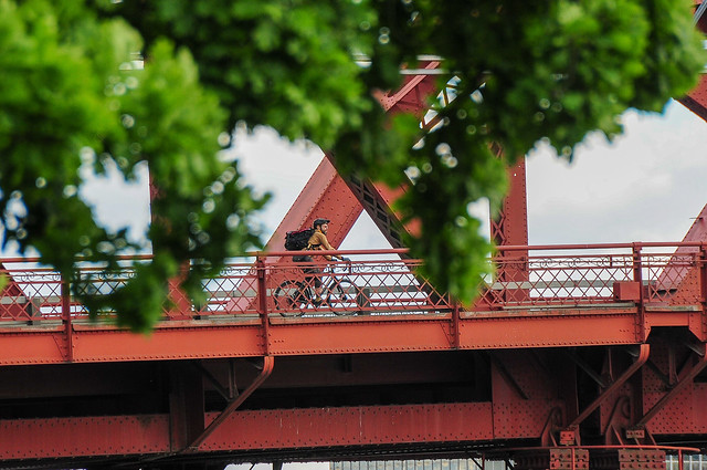 Rider on Broadway Bridge