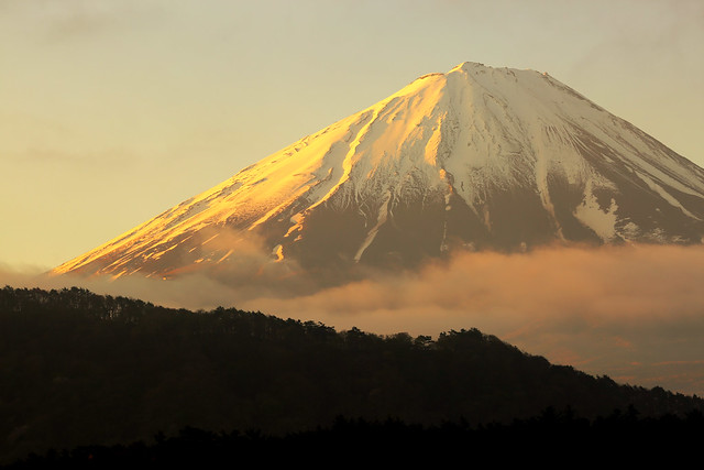 Morning sunlight shines on the mountain