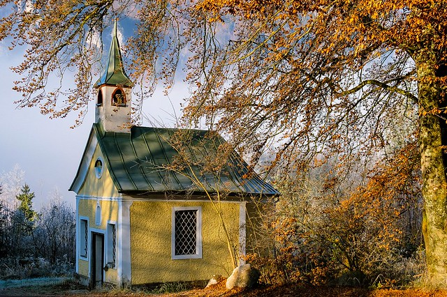 Chapel in autumn dress