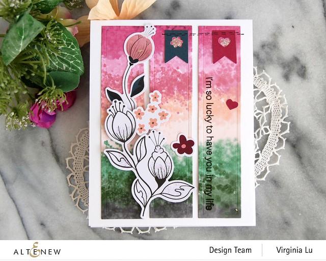 Altenew-Wildflower Collection 6x6 Paper Pack-Wildflower Collection Pink Posy Ephemera-Modern Greetings Stamp Set-Nesting Slim Rectangles Die-003