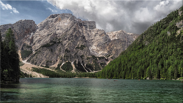 The beautiful Lake Prags  in South Tyrol - view of the Seekofel