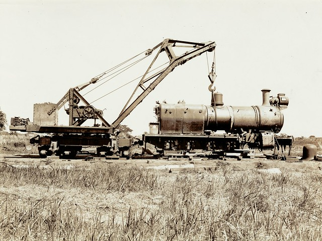 Africa Railways - Trans Zambesia Railway - TZR 4-8-0 steam locomotive Nr. 1 undergoing repairs at Murraca (Hawthorn Leslie 3498 / 1921)