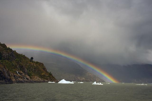 Rainbow over icebergs