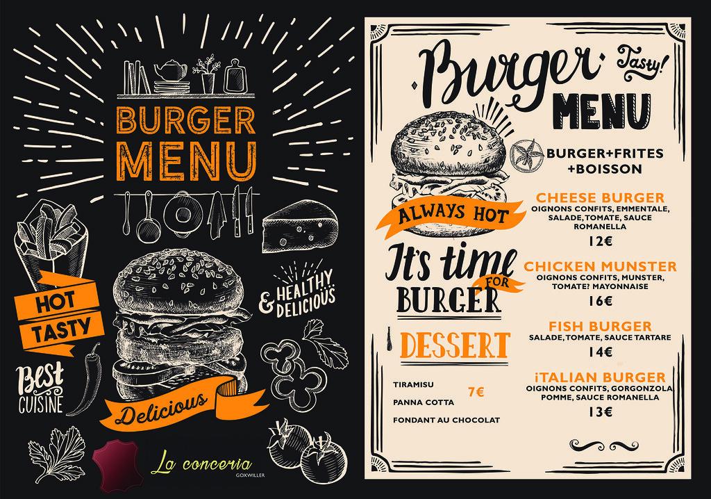 Burger restaurant menu. Food flyer on blackboard background for bar and cafe. Design template with vintage hand-drawn illustrations.